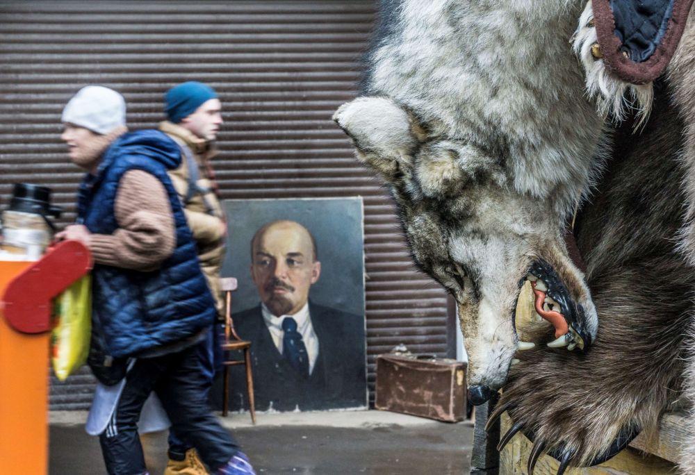 Vlčí kůže na pozadí portrétu Vladimira Iljiče Lenina na Izmajlovské tržnici, Moskva