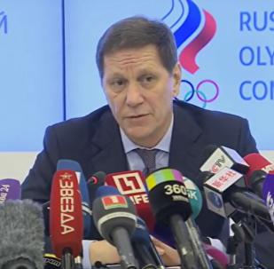 Tisková konference ruského olympijského výboru po poradě ohledně zákazu MOV
