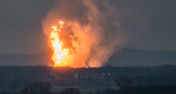 Výbuch plynového terminálu v blízkosti města Baumgarten an der March