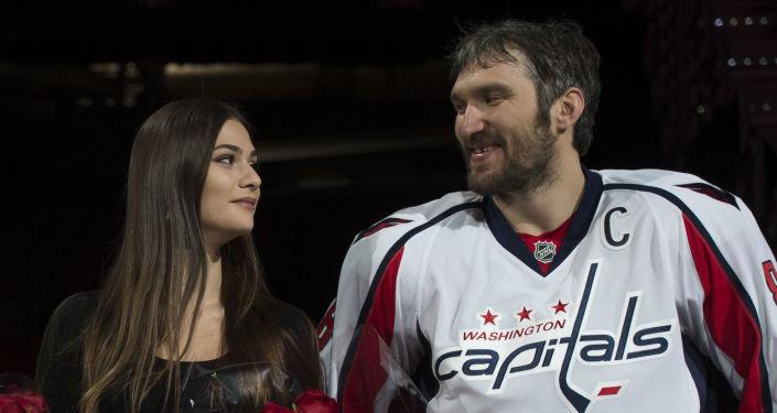 Alexandr Ovečkin s manželkou Anastasií