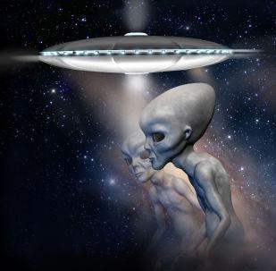 Létající talíř a mimozemšťan