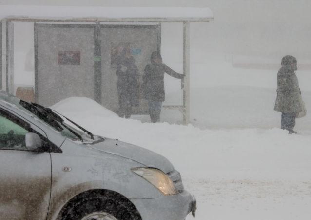 Zastávka autobusu na Sachalinu