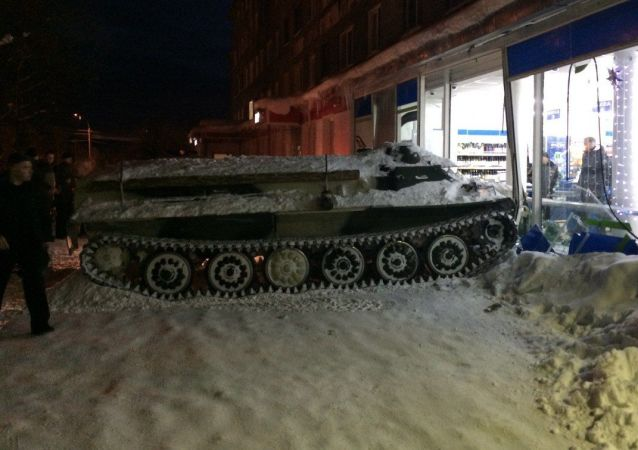 Obrněné vozidlo ve městě Apatity