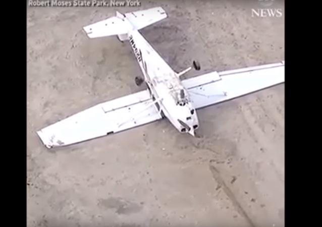 V USA letadlo přistálo na záda