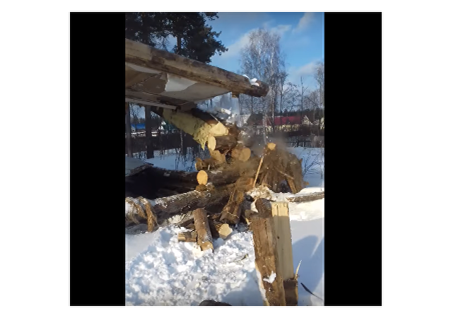 Chlapec seká strom sekerou