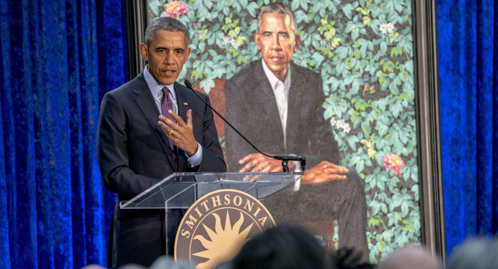 Barack Obama v Národní portrétní galerii USA ve Washingtonu