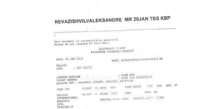 Kopie letenky, která potvrzuje přílet Revazišviliho