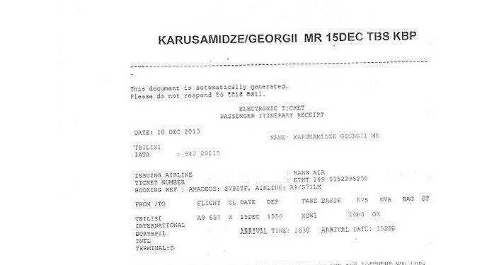 Kopie letenky, která potvrzuje přílet Nergadze do Kyjeva