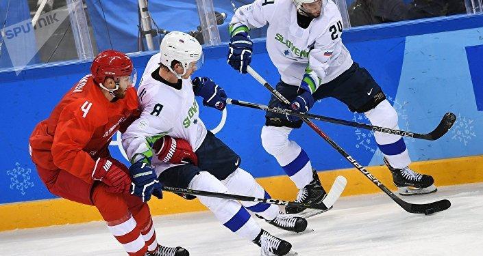 Žiga Jeglič v utkání s Ruskem