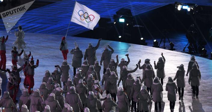 Olympijští sportovci z Ruska během zahajovacího ceremoniálu