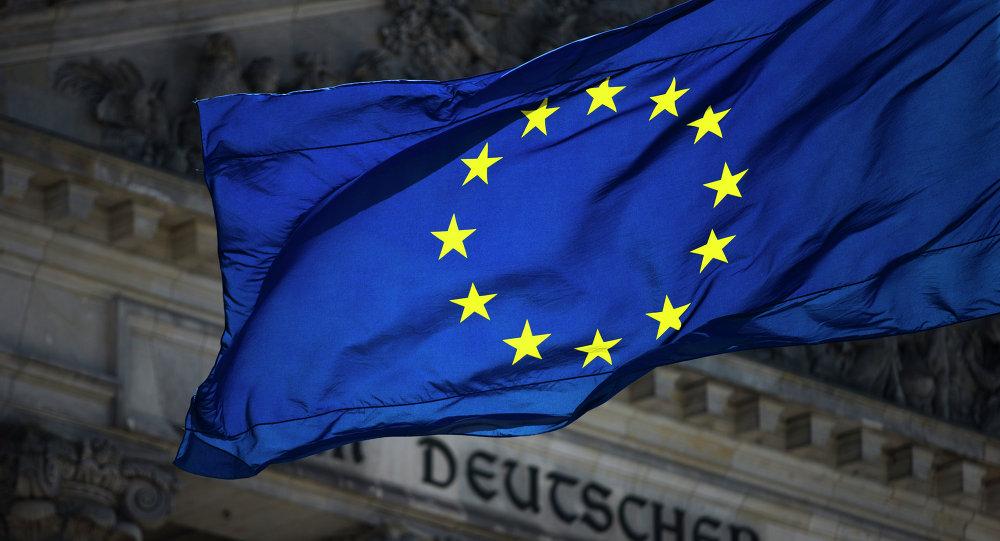 Vlajka EU v Berlíně