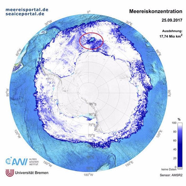 Díra v Antarktidě.