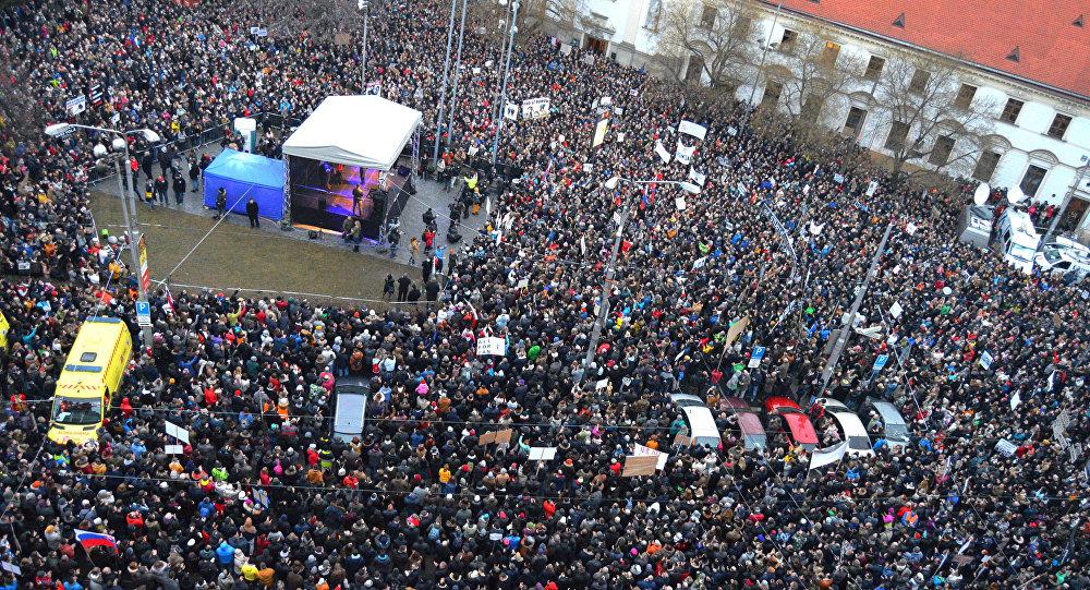 Protesty na Slovensku. Ilustrační foto
