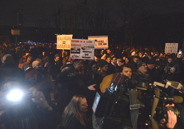 Pochod na Slovensku na památku zavražděného novináře Kuciaka