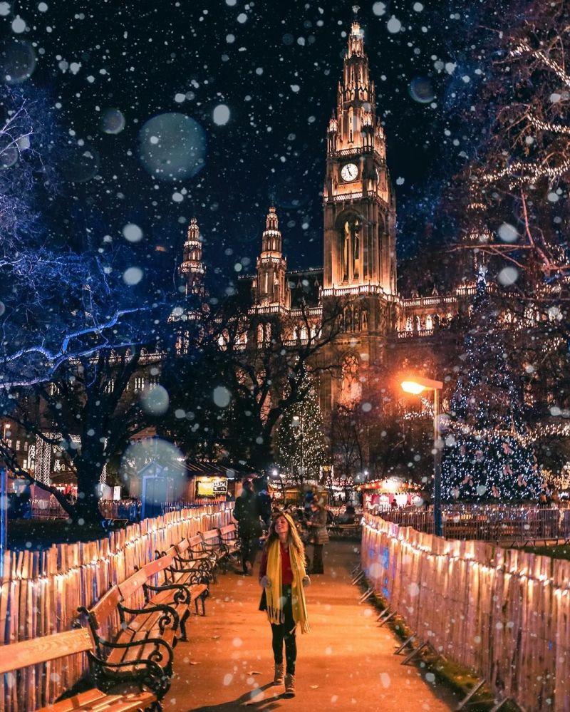 Sněžení ve Vídni na fotografii projektu How Far wrom Home