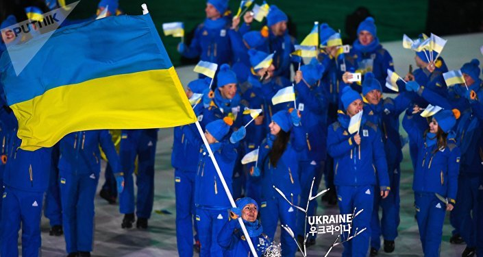Ukrajinští sportovci během zahájení Olympijských her 2018