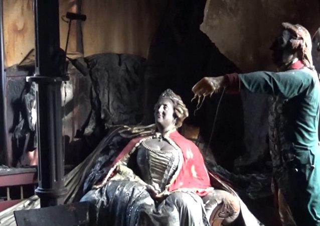 Požár v muzeu voskových figurín v Krasnojarsku