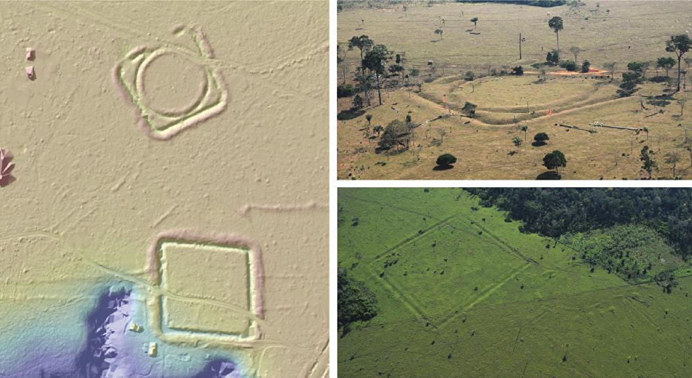 Zbytky osad, které archeologové našli v Amazonii