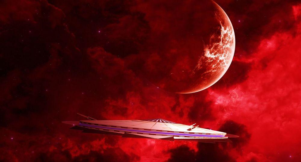 Kosmická loď a červená planeta