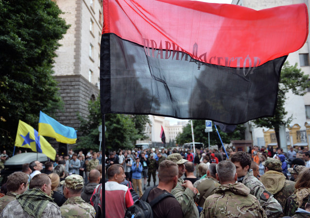 Pravý sektor na demonstraci v Kyjevě