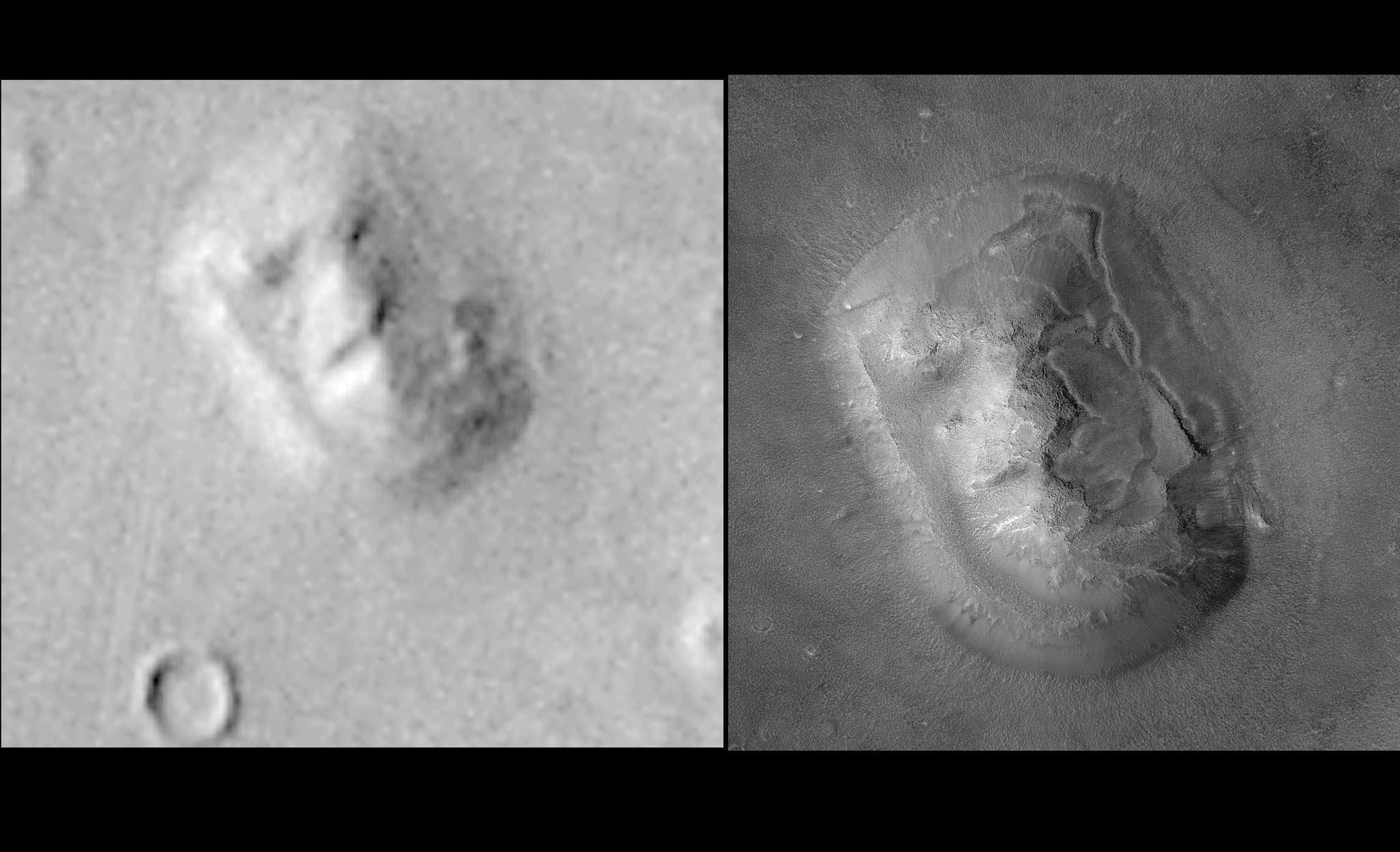 """Tento kompozitní snímek byl zveřejněn NASA 24. května 2001. Ukazuje lepší rezoluci """"Tváře na Marsu"""" (P) vedle staršího snímku sondy Viking (L)"""