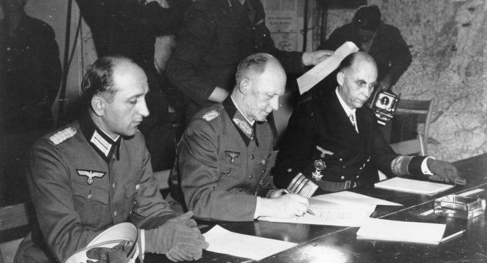 Podpis aktu o kapitulaci Německa