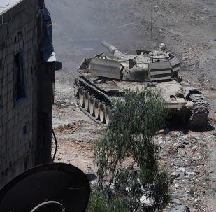Syrské tanky u Damašku. Ilustrační foto