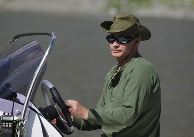 Vladimir Putin během dovolené v Republice Tuva.
