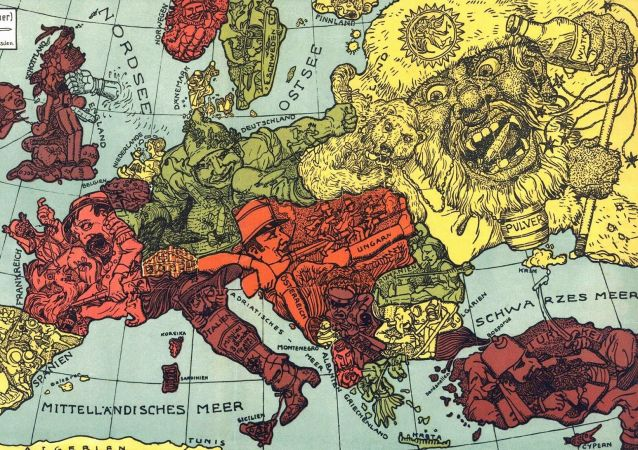 Karikatura mapy Evropy. Ilustrační foto