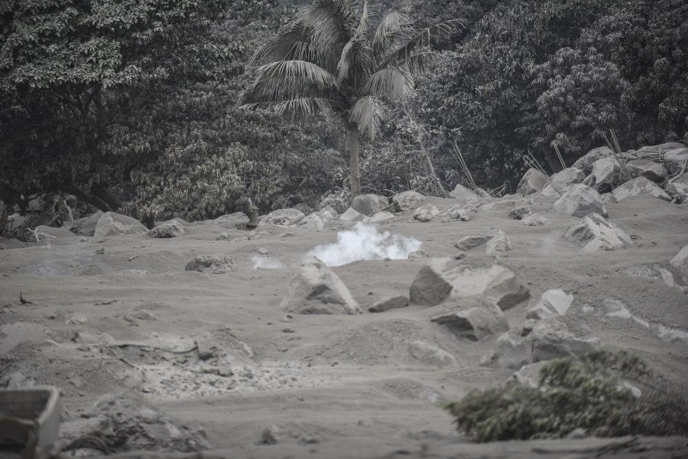 Vesnice San Miguel Los Lotes, pokrytá popelem po erupci sopky Fuego v Guatemale