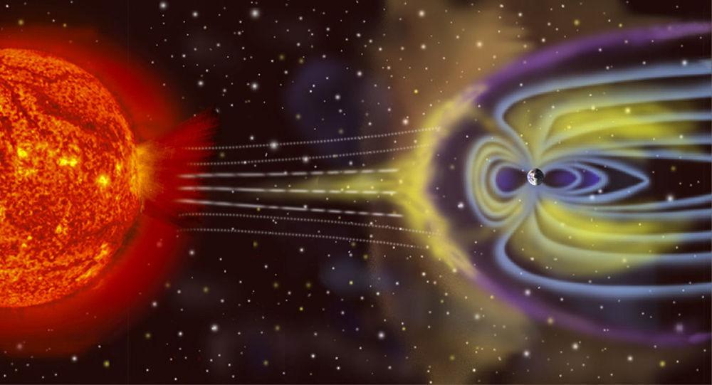 Schéma vzniku geomagnetické bouře na Zemi