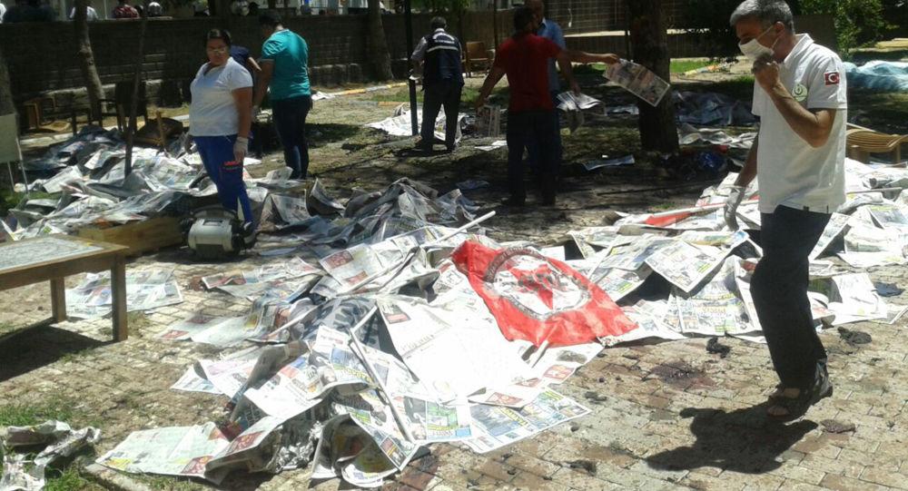 Výbuch ve městě Suruč, Turecko