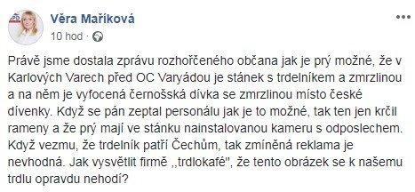 Příspěvek Věry Maříkové na Facebooku