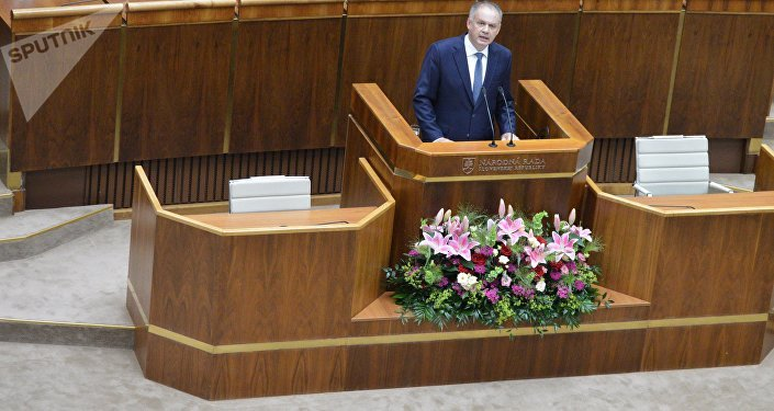 Slovenský prezident Andrej Kiska s projevem v parlamentu