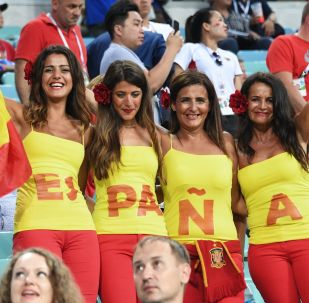 Španělské fanynky při zápase MS 2018 mezi Španělskem a Portugalskem