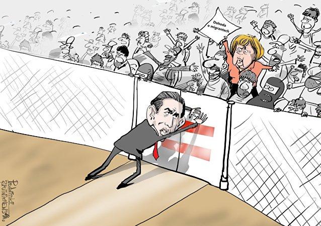 Merkelová a Kurz karikatura