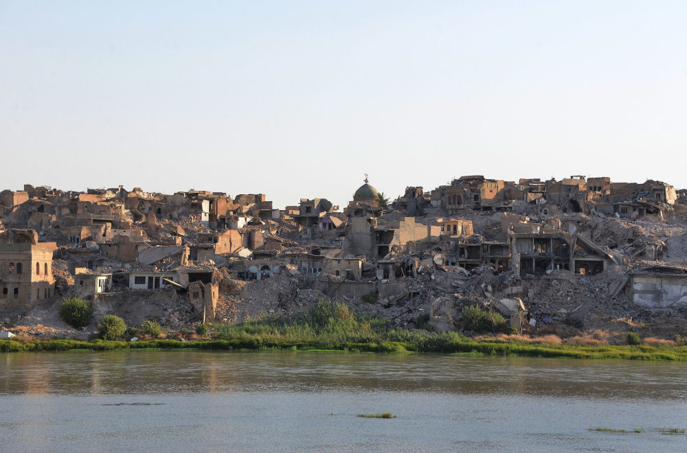Pohled na irácké město Mosul, červenec 2018