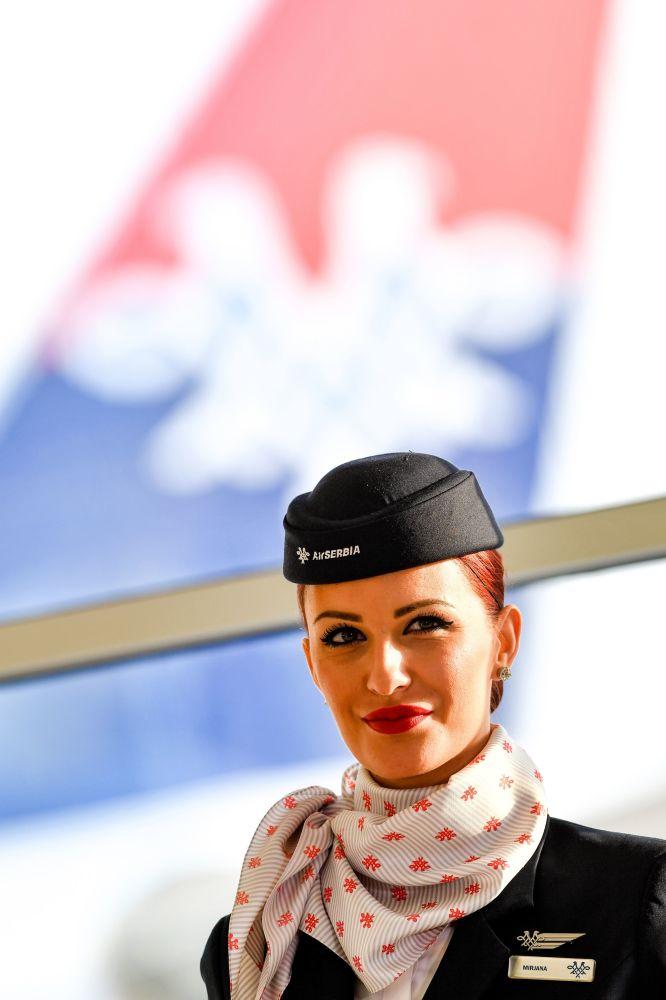 Letuška aerolinek Air Serbia v Bělehradu