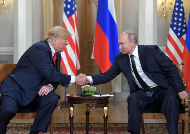 Ruský prezident Vladimir Putin na setkání s americkým prezidentem Donaldem Trumpem v Helsinkách
