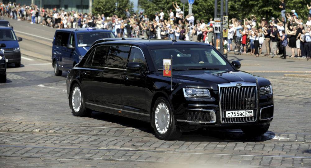Putinův automobil Aurus Senat v Helsinikách