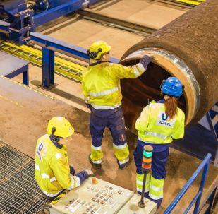 Potrubí pro Severní proud 2 na závodě Wasco ve Finsku