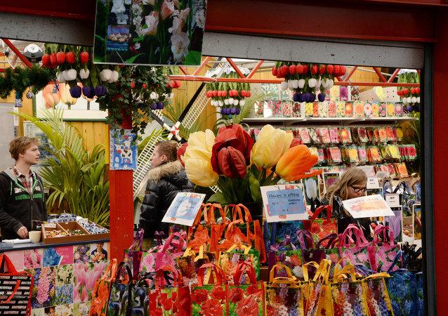 Prodej květin v Amsterdamu