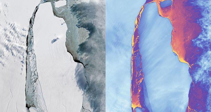 Gigantický ledovec A-68, který se odlomil od Larsena C v červenci 2017
