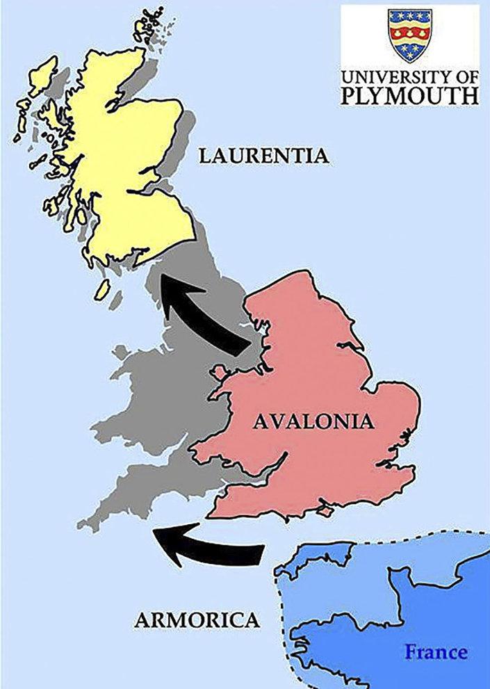 Spojení Britských ostrovů za účasti tří mikrokontinentů