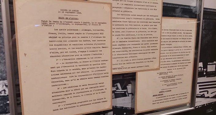 Kopie Mnichovské dohody, která připravila Československo o Sudety a přivedla svět k druhé světové válce