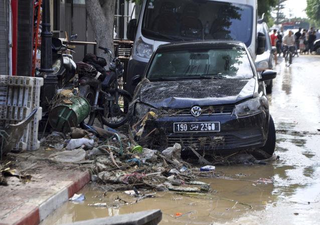 Následky prudkých dešťů v Tunisku. Ilustrační foto