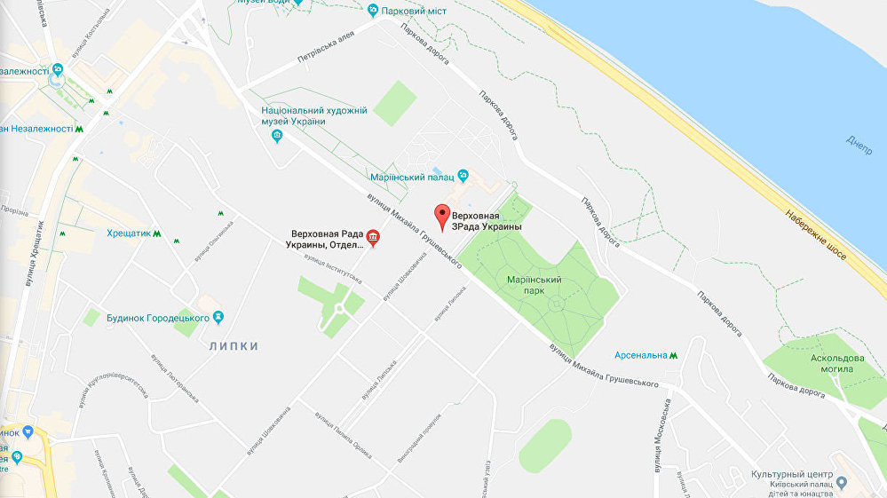 Google Mapy s přejmenovanou budovou Nejvyšší rady