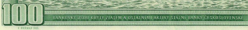 """Obrázek 3: Detail československé stovky s informací, že je krytá zlatem. Obrázek 2 a 3 zachycují zadní stranu československé stokoruny. Ve výřezu (detailu) zadní strany vespod čteme: """"BANKOVKY JSOU KRYTY ZLATEM A OSTATNÍMI AKTIVY STÁTNÍ BANKY ČESKOSLOVESNKÉ"""""""