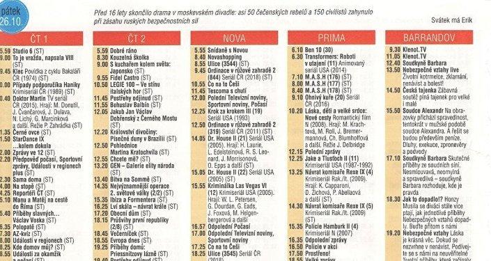 Historické kalendárium v časopisu Vlasta (42/2018) odkazující k zásahu proti teroristům v divadle na Dubrovce (2002)