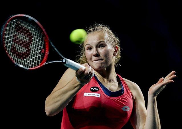 Tenistka Kateřina Siniaková na turnaji v Moskvě. 2015